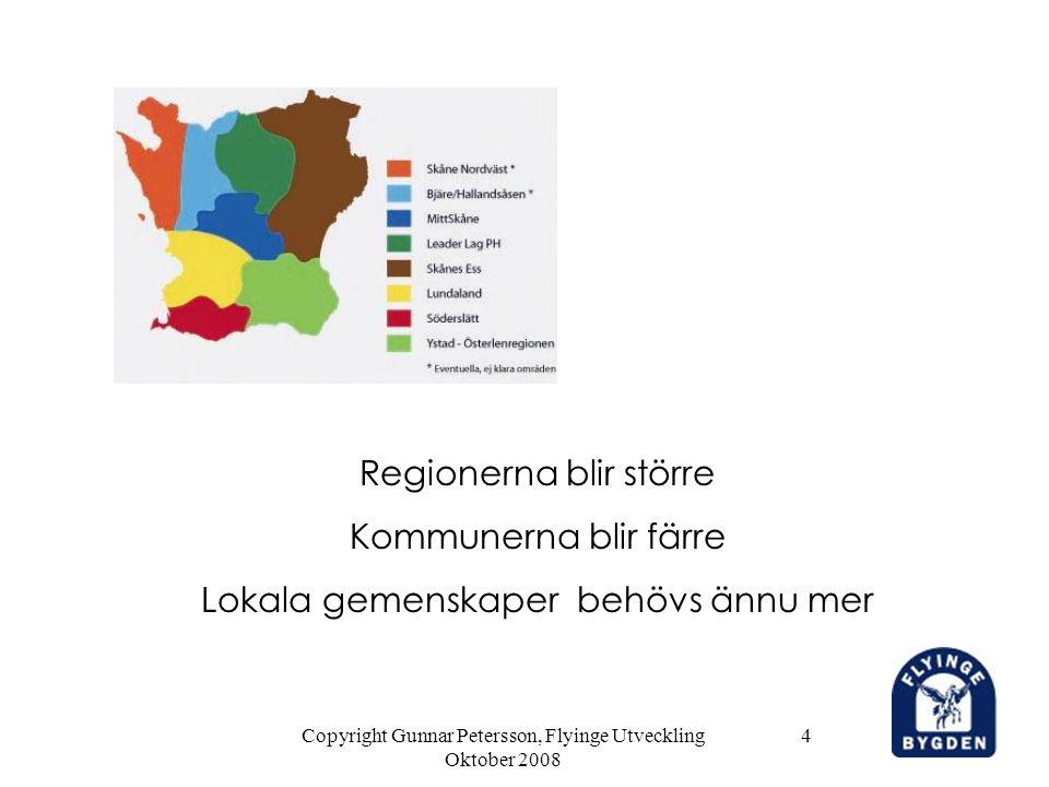 Copyright Gunnar Petersson, Flyinge Utveckling Oktober 2008 4 Regionerna blir större Kommunerna blir färre Lokala gemenskaper behövs ännu mer