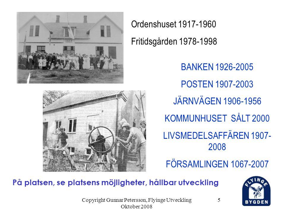 Copyright Gunnar Petersson, Flyinge Utveckling Oktober 2008 5 På platsen, se platsens möjligheter, hållbar utveckling Ordenshuset 1917-1960 Fritidsgår