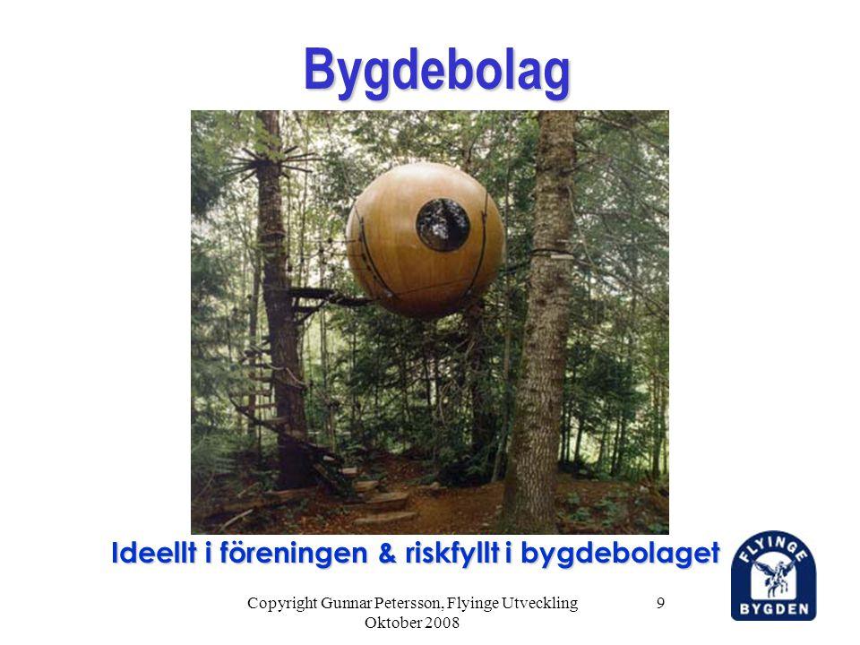 Copyright Gunnar Petersson, Flyinge Utveckling Oktober 2008 9 Bygdebolag Bygdebolag Ideellt i föreningen & riskfyllt i bygdebolaget