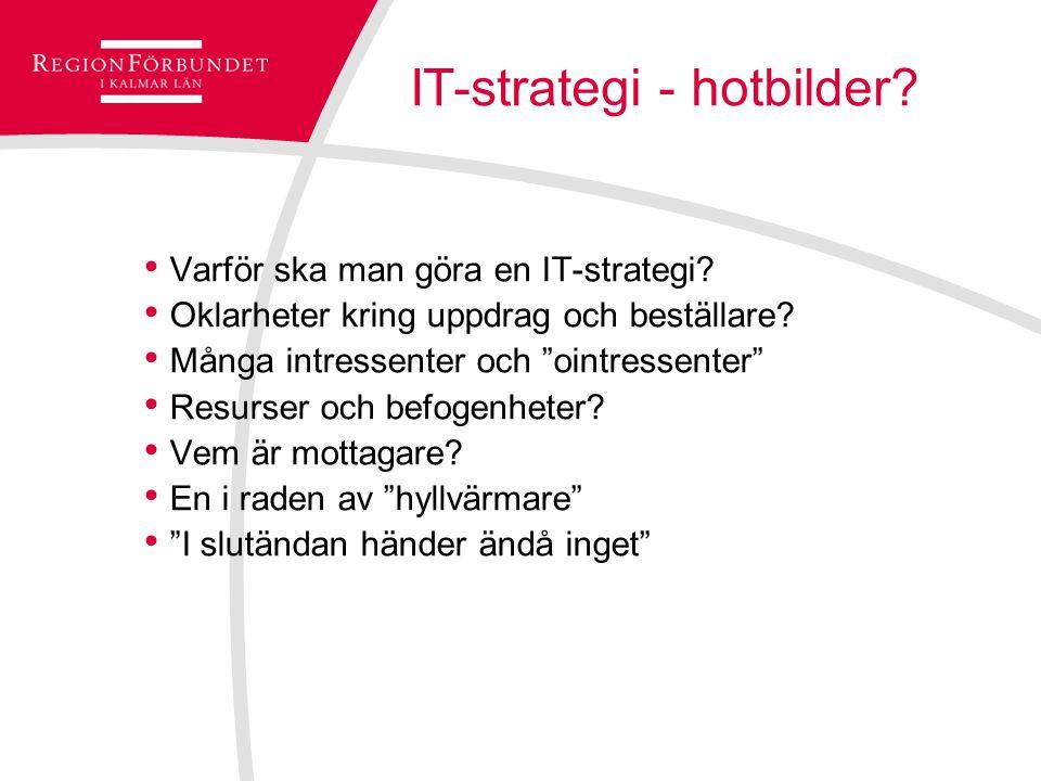 """IT-strategi - hotbilder? Varför ska man göra en IT-strategi? Oklarheter kring uppdrag och beställare? Många intressenter och """"ointressenter"""" Resurser"""