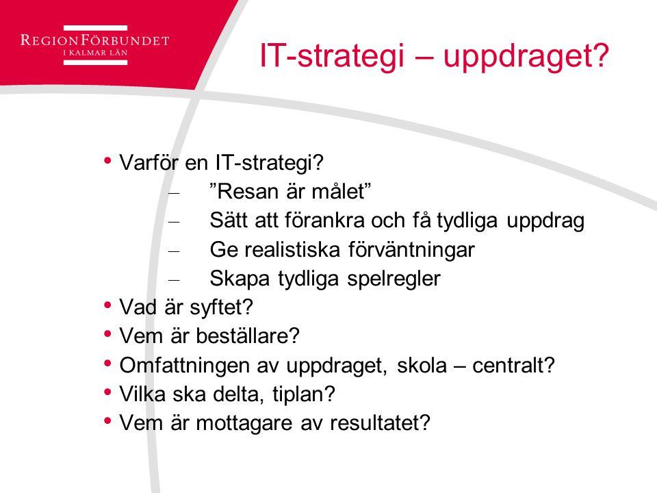 """IT-strategi – uppdraget? Varför en IT-strategi? – """"Resan är målet"""" – Sätt att förankra och få tydliga uppdrag – Ge realistiska förväntningar – Skapa t"""
