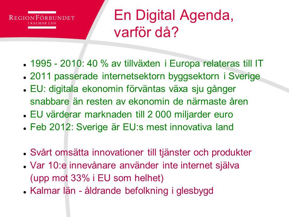 En Digital Agenda, varför då? 1995 - 2010: 40 % av tillväxten i Europa relateras till IT 2011 passerade internetsektorn byggsektorn i Sverige EU: digi