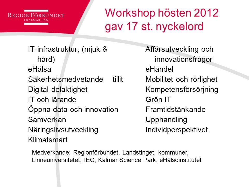 Workshop hösten 2012 gav 17 st. nyckelord IT-infrastruktur, (mjuk & hård) eHälsa Säkerhetsmedvetande – tillit Digital delaktighet IT och lärande Öppna