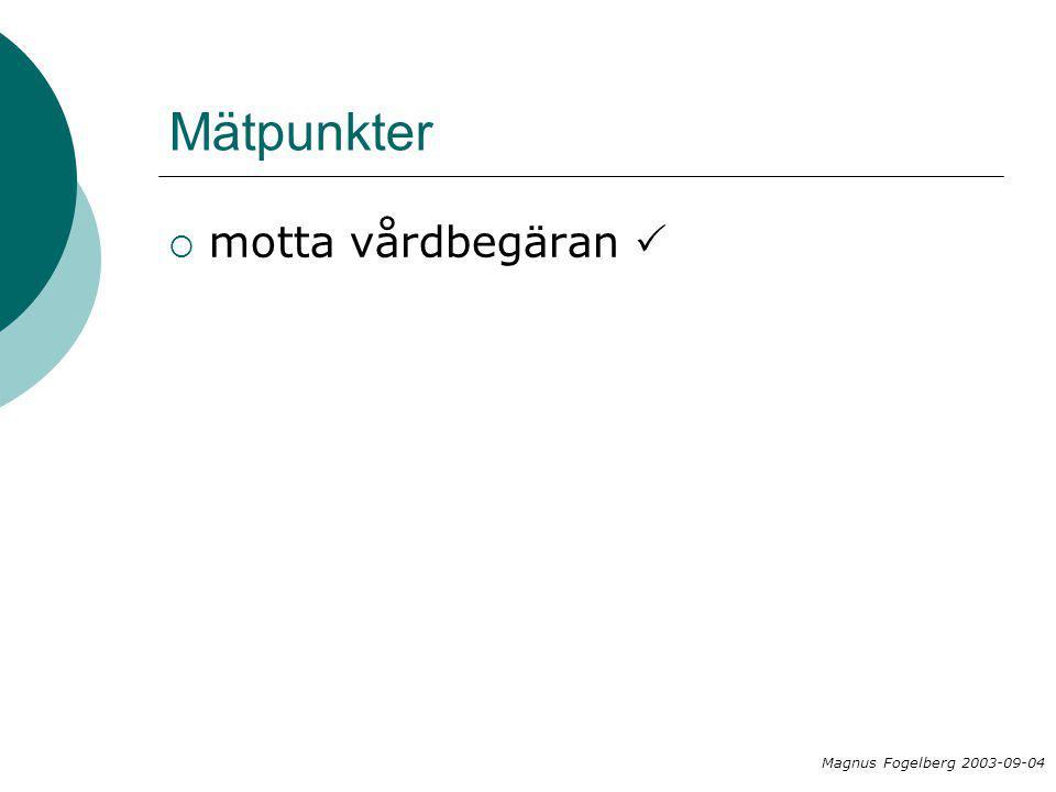 Mätpunkter  motta vårdbegäran  Magnus Fogelberg 2003-09-04