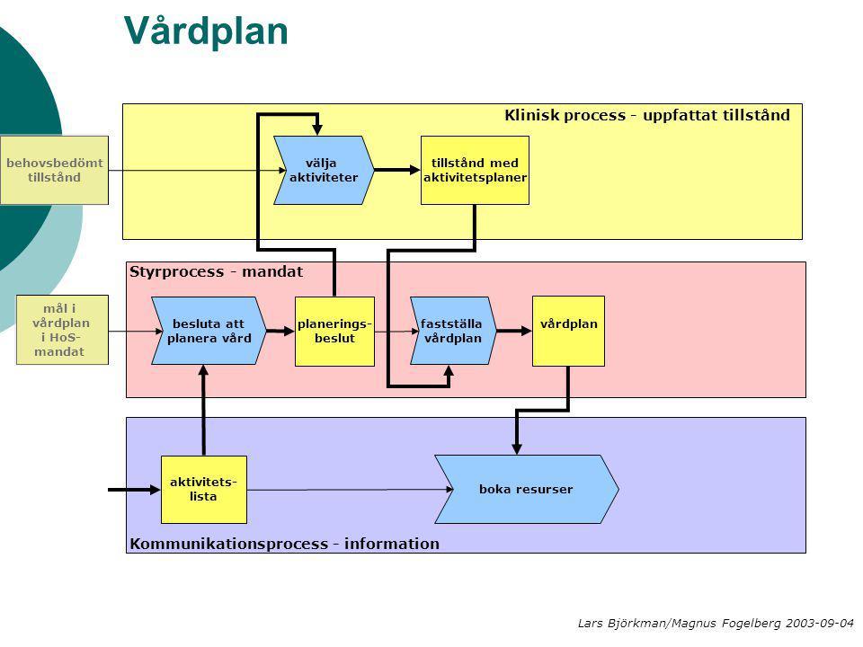 Vårdplan välja aktiviteter besluta att planera vård planerings- beslut Klinisk process - uppfattat tillstånd Styrprocess - mandat Kommunikationsproces