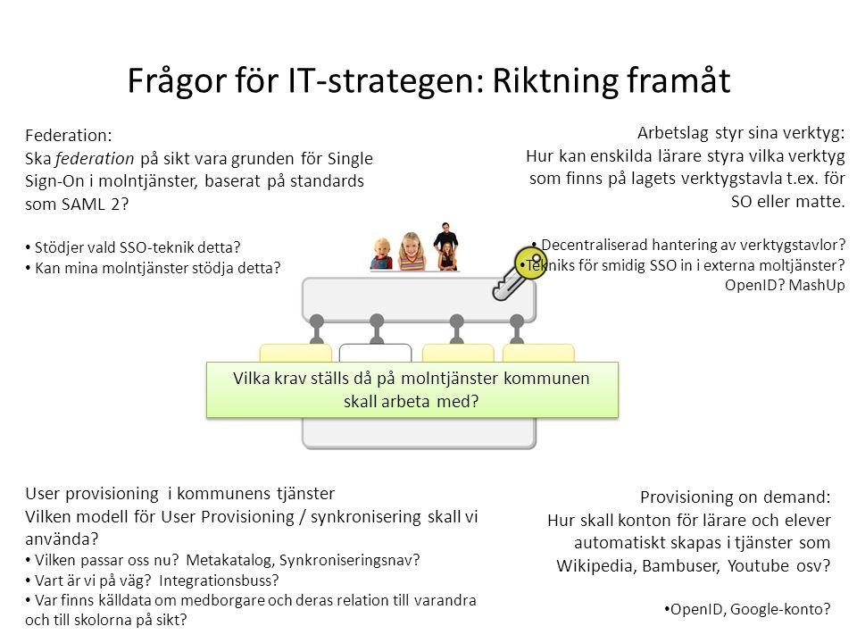 Frågor för IT-strategen: Riktning framåt Federation: Ska federation på sikt vara grunden för Single Sign-On i molntjänster, baserat på standards som S