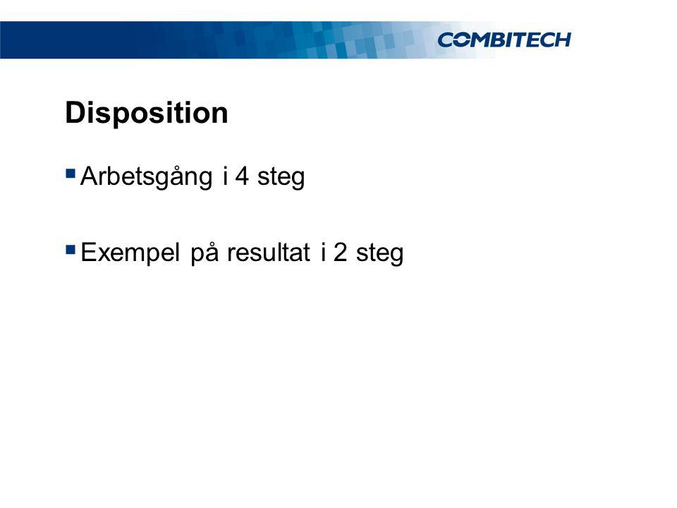 Disposition  Arbetsgång i 4 steg  Exempel på resultat i 2 steg