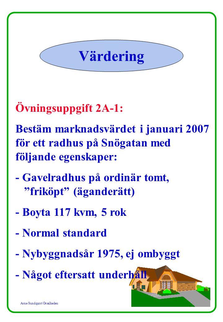 Arne Sundquist/Orsalheden Värdering Övningsuppgift 2A-1: Bestäm marknadsvärdet i januari 2007 för ett radhus på Snögatan med följande egenskaper: - Gavelradhus på ordinär tomt, friköpt (äganderätt) - Boyta 117 kvm, 5 rok - Normal standard - Nybyggnadsår 1975, ej ombyggt - Något eftersatt underhåll