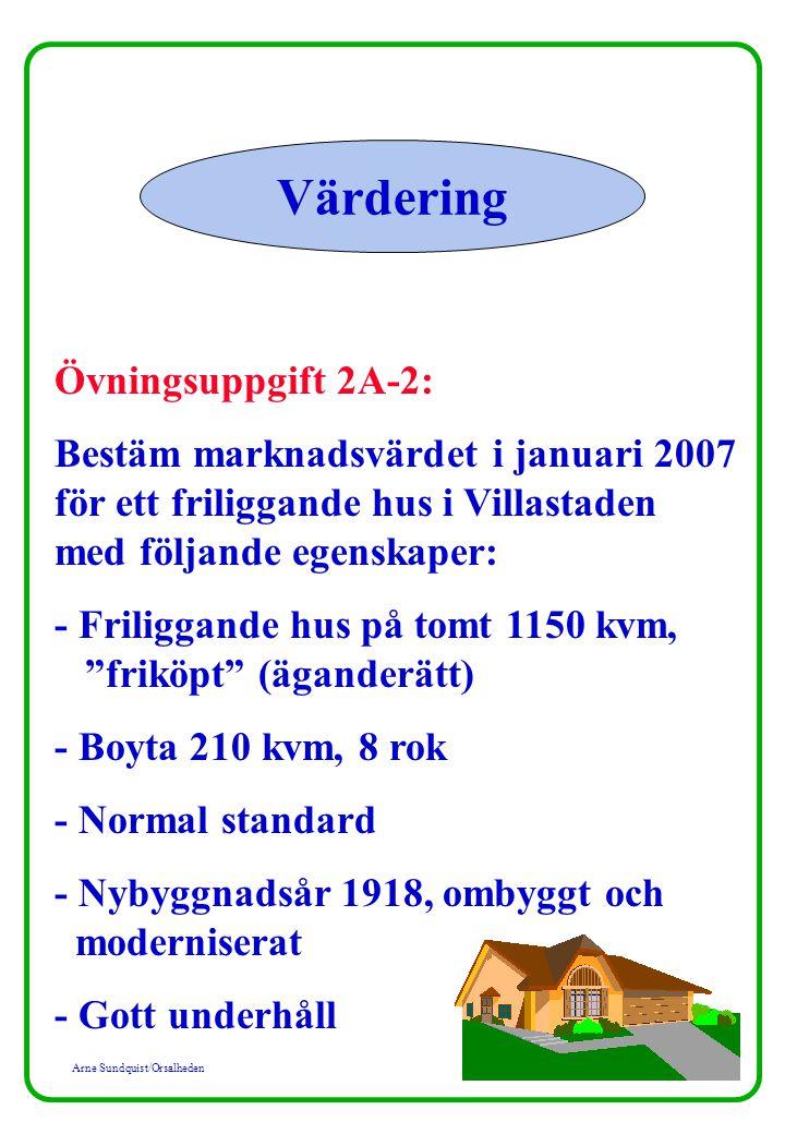 Arne Sundquist/Orsalheden Värdering Övningsuppgift 2A-2: Bestäm marknadsvärdet i januari 2007 för ett friliggande hus i Villastaden med följande egenskaper: - Friliggande hus på tomt 1150 kvm, friköpt (äganderätt) - Boyta 210 kvm, 8 rok - Normal standard - Nybyggnadsår 1918, ombyggt och moderniserat - Gott underhåll