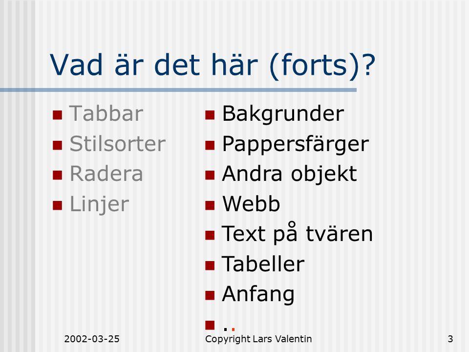 2002-03-25Copyright Lars Valentin4 Vad är det här (forts)? Skrivmaskin Word 2000