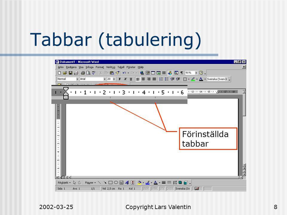 2002-03-25Copyright Lars Valentin8 Tabbar (tabulering) Förinställda tabbar