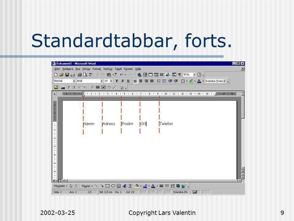 2002-03-25Copyright Lars Valentin9 Standardtabbar, forts.