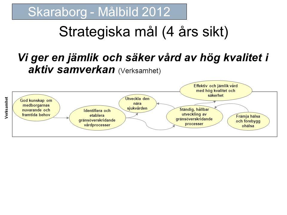 Strategiska mål (4 års sikt) Vi ger en jämlik och säker vård av hög kvalitet i aktiv samverkan (Verksamhet) Skaraborg - Målbild 2012 Verksamhet Främja hälsa och förebygg ohälsa Effektiv och jämlik vård med hög kvalitet och säkerhet Identifiera och etablera gränsöverskridande vårdprocesser Ständig, hållbar utveckling av gränsöverskridande processer God kunskap om medborgarnas nuvarande och framtida behov Utveckla den nära sjukvården