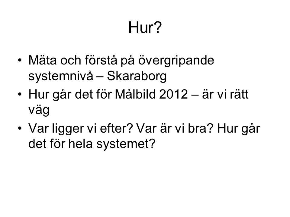 Hur? Mäta och förstå på övergripande systemnivå – Skaraborg Hur går det för Målbild 2012 – är vi rätt väg Var ligger vi efter? Var är vi bra? Hur går