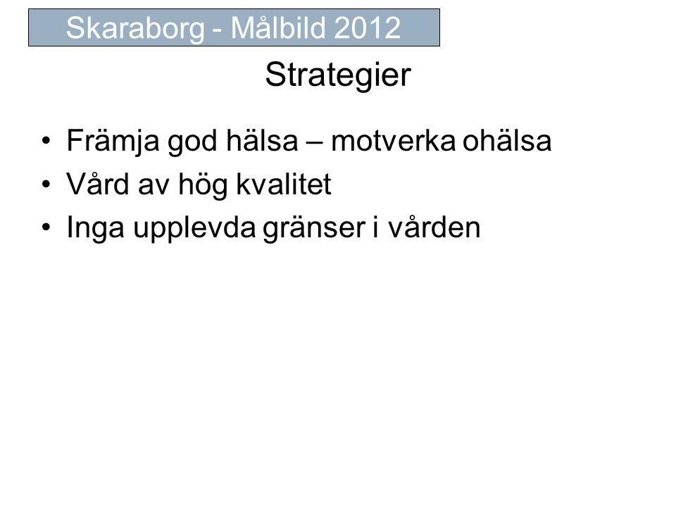 Strategier Främja god hälsa – motverka ohälsa Vård av hög kvalitet Inga upplevda gränser i vården Skaraborg - Målbild 2012