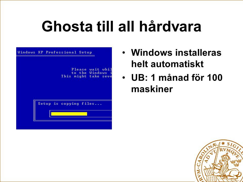 Ghosta till all hårdvara Windows installeras helt automatiskt UB: 1 månad för 100 maskiner