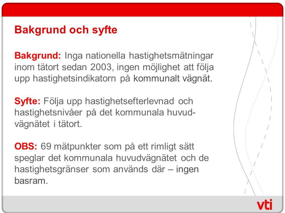 Bakgrund och syfte Bakgrund: Inga nationella hastighetsmätningar inom tätort sedan 2003, ingen möjlighet att följa upp hastighetsindikatorn på kommunalt vägnät.