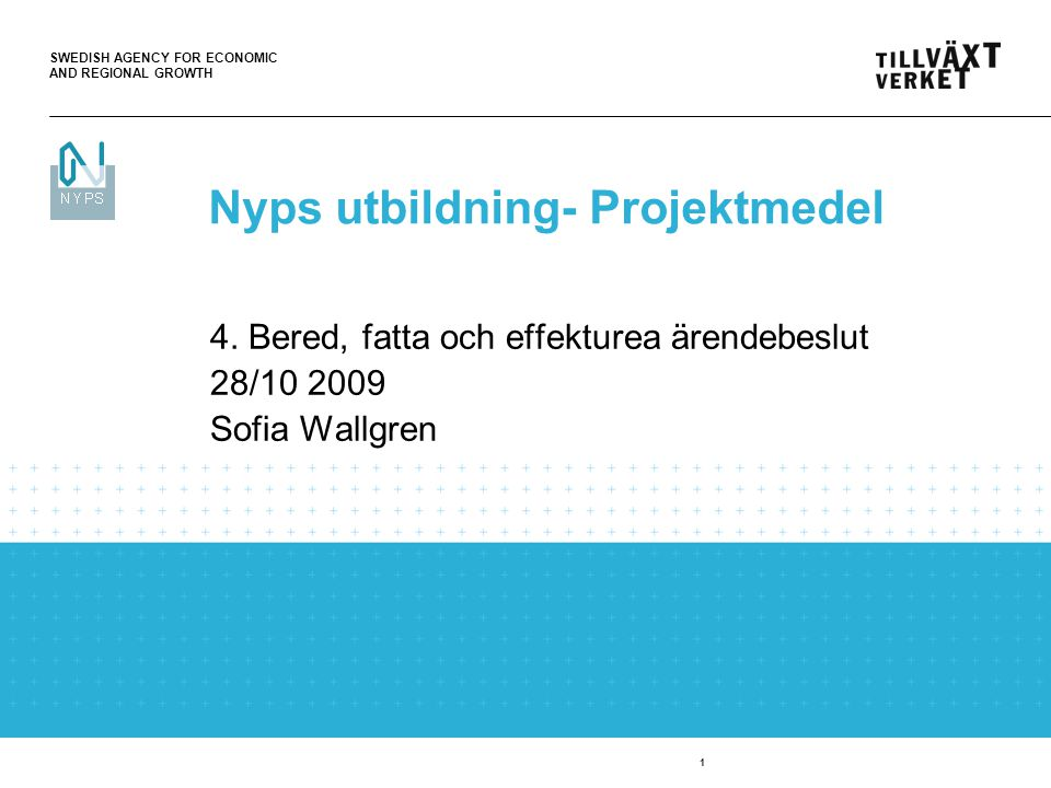 SWEDISH AGENCY FOR ECONOMIC AND REGIONAL GROWTH 1 4. Bered, fatta och effekturea ärendebeslut 28/10 2009 Sofia Wallgren Nyps utbildning- Projektmedel