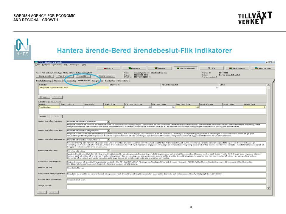 SWEDISH AGENCY FOR ECONOMIC AND REGIONAL GROWTH 9 Hantera ärende-Bered ärendebeslut-Flik Prognoser Hantera ärende-Bered ärendebeslut- Flik Kontakter