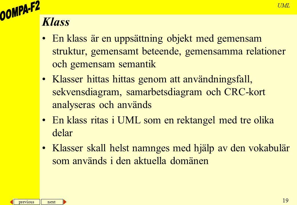 previous next 19 UML Klass En klass är en uppsättning objekt med gemensam struktur, gemensamt beteende, gemensamma relationer och gemensam semantik Kl