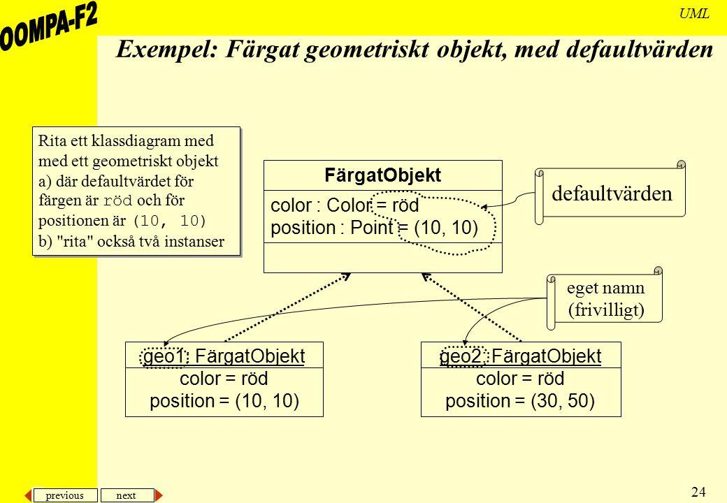 previous next 24 UML Exempel: Färgat geometriskt objekt, med defaultvärden FärgatObjekt color : Color = röd position : Point = (10, 10) geo1: FärgatOb