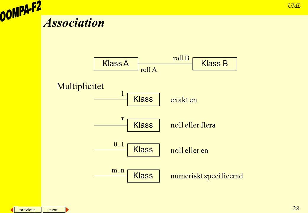 previous next 28 UML Association Klass Multiplicitet Klass BKlass A roll A roll B 1 * 0..1 m..n exakt en noll eller flera noll eller en numeriskt spec