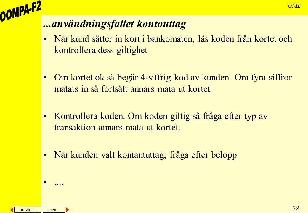previous next 38 UML...användningsfallet kontouttag När kund sätter in kort i bankomaten, läs koden från kortet och kontrollera dess giltighet Om kort