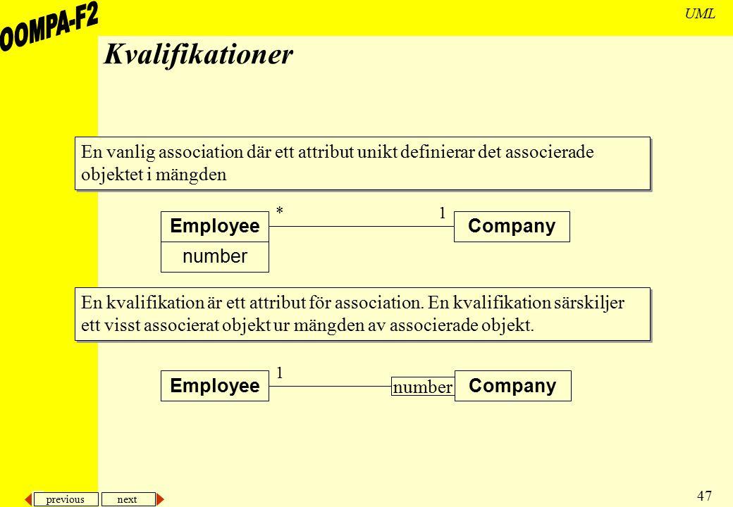 previous next 47 UML Kvalifikationer EmployeeCompany 1* number EmployeeCompany 1 number En vanlig association där ett attribut unikt definierar det as