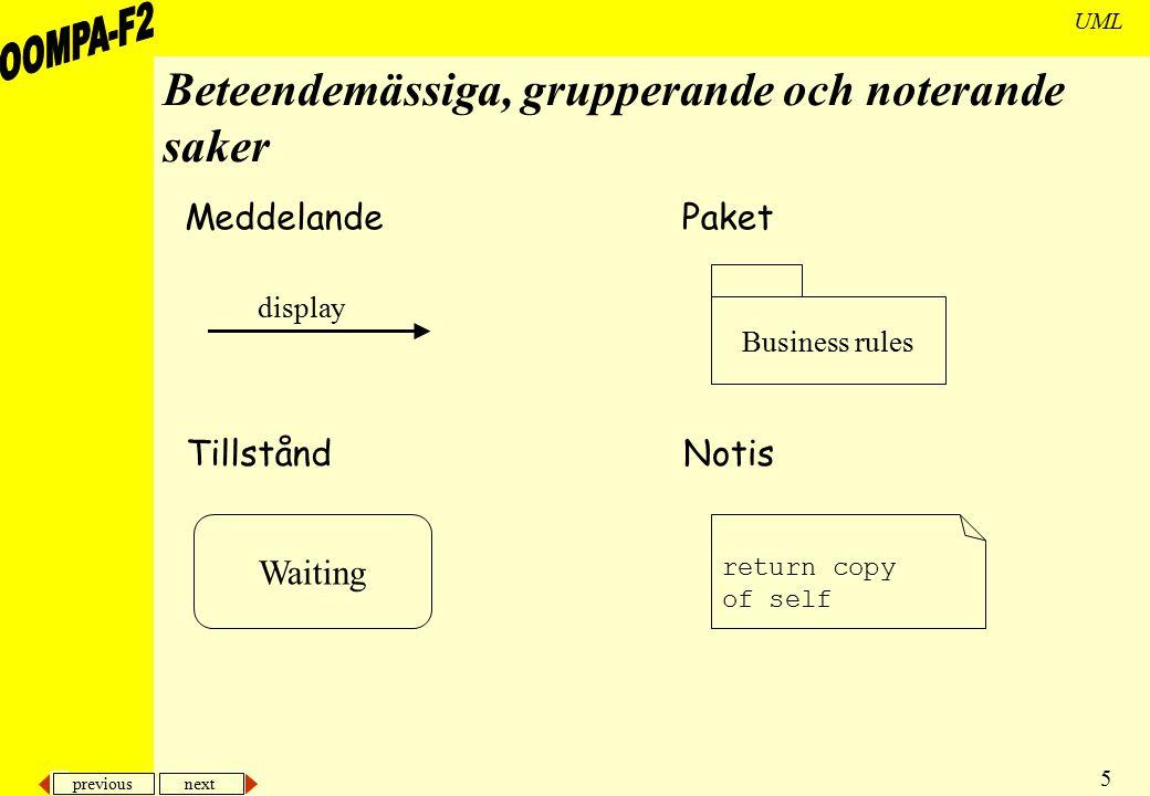 previous next 5 UML Beteendemässiga, grupperande och noterande saker Meddelande Tillstånd display Waiting Paket Notis Business rules return copy of se