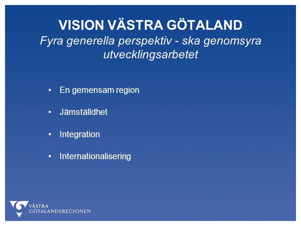 VISION VÄSTRA GÖTALAND Fyra generella perspektiv - ska genomsyra utvecklingsarbetet En gemensam region Jämställdhet Integration Internationalisering
