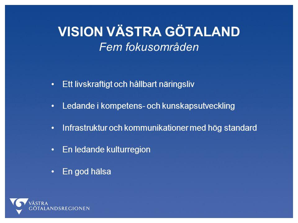 VISION VÄSTRA GÖTALAND Fem fokusområden Ett livskraftigt och hållbart näringsliv Ledande i kompetens- och kunskapsutveckling Infrastruktur och kommuni