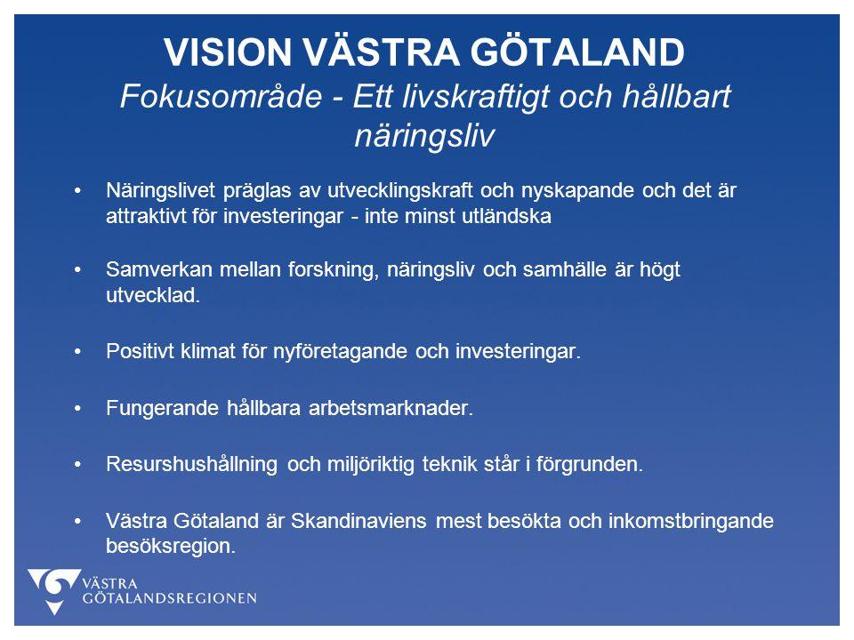 VISION VÄSTRA GÖTALAND Fokusområde - Ett livskraftigt och hållbart näringsliv Näringslivet präglas av utvecklingskraft och nyskapande och det är attra