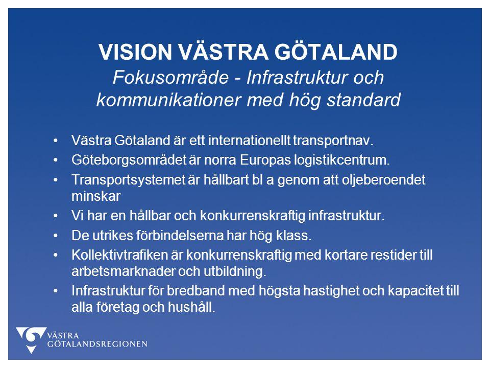 VISION VÄSTRA GÖTALAND Fokusområde - Ledande i kunskap och kompetensutveckling Grundskola, gymnasieskola och vuxenutbildning har hög kvalitet.