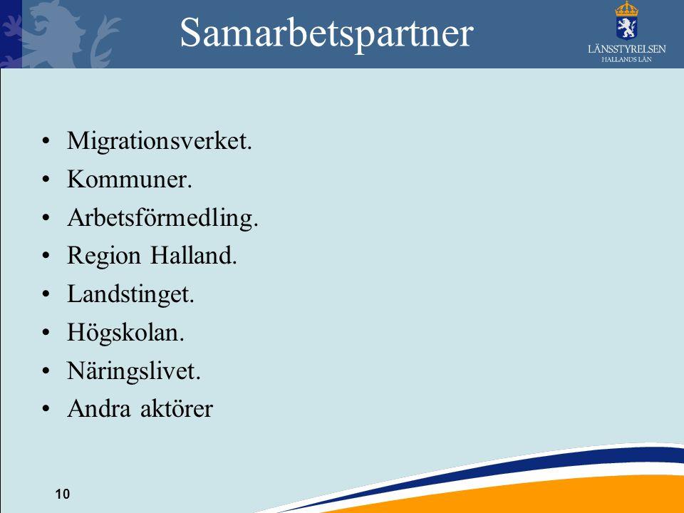 10 Samarbetspartner Migrationsverket.Kommuner. Arbetsförmedling.