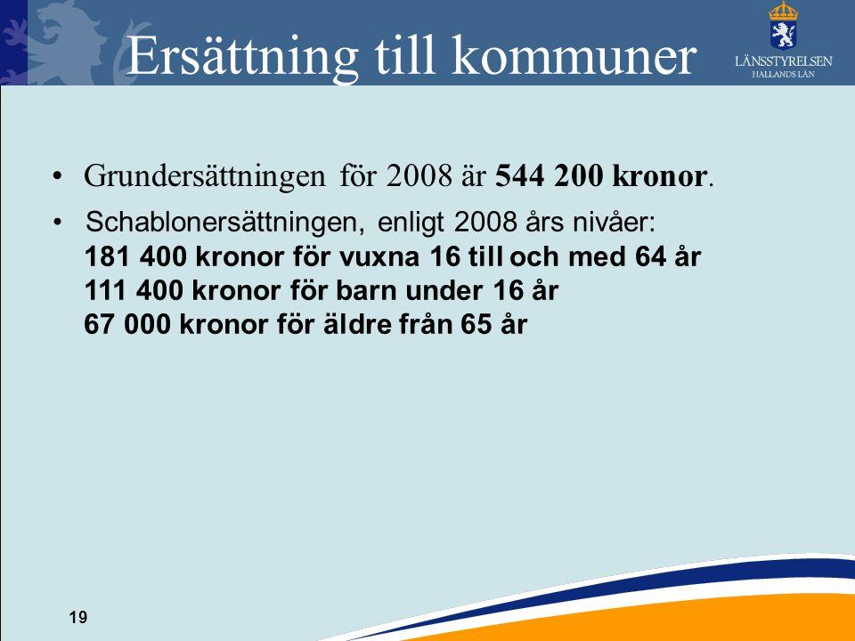 19 Ersättning till kommuner Grundersättningen för 2008 är 544 200 kronor. Schablonersättningen, enligt 2008 års nivåer: 181 400 kronor för vuxna 16 ti
