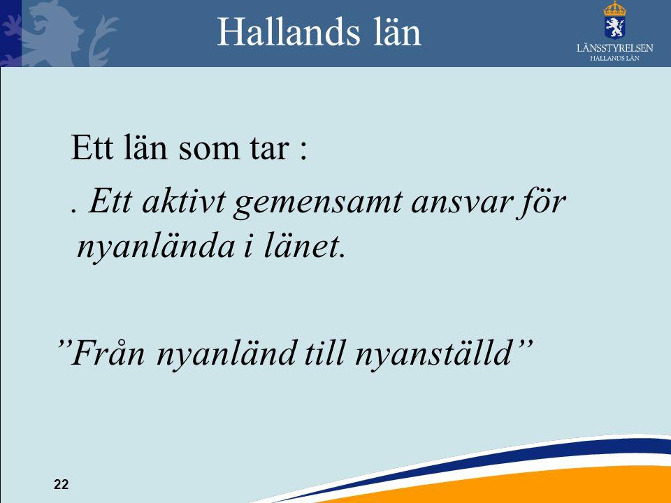 """22 Hallands län Ett län som tar :. Ett aktivt gemensamt ansvar för nyanlända i länet. """"Från nyanländ till nyanställd"""""""