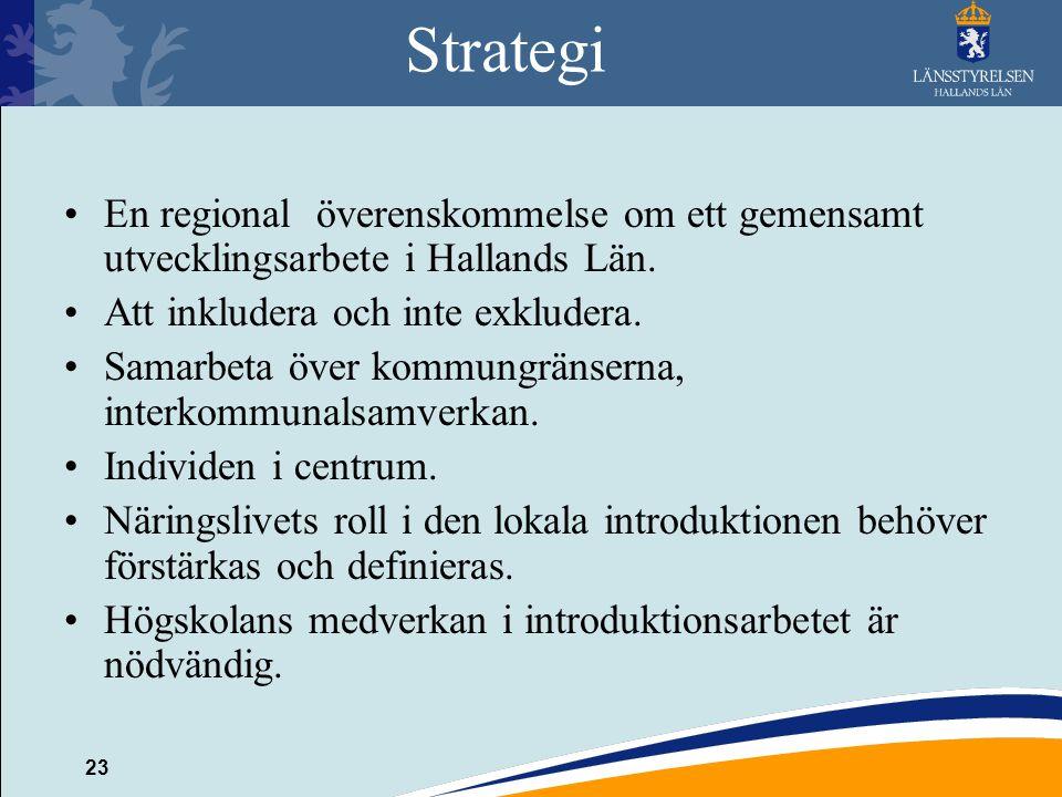 23 Strategi En regional överenskommelse om ett gemensamt utvecklingsarbete i Hallands Län. Att inkludera och inte exkludera. Samarbeta över kommungrän