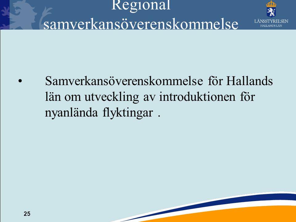 25 Regional samverkansöverenskommelse Samverkansöverenskommelse för Hallands län om utveckling av introduktionen för nyanlända flyktingar.