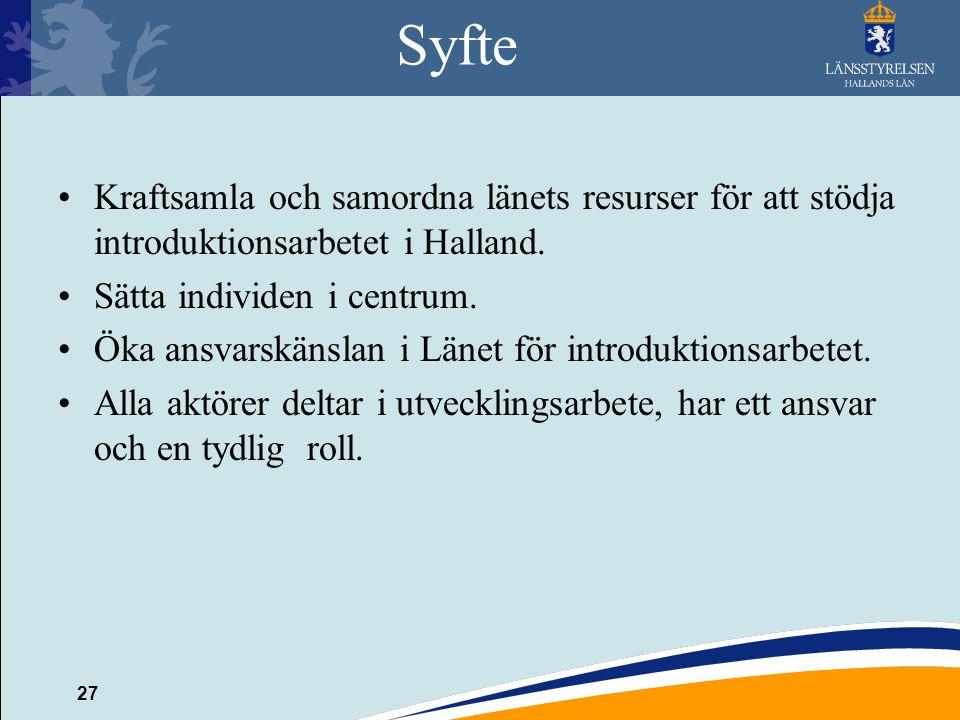 27 Syfte Kraftsamla och samordna länets resurser för att stödja introduktionsarbetet i Halland. Sätta individen i centrum. Öka ansvarskänslan i Länet