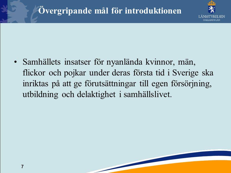 7 Övergripande mål för introduktionen Samhällets insatser för nyanlända kvinnor, män, flickor och pojkar under deras första tid i Sverige ska inriktas