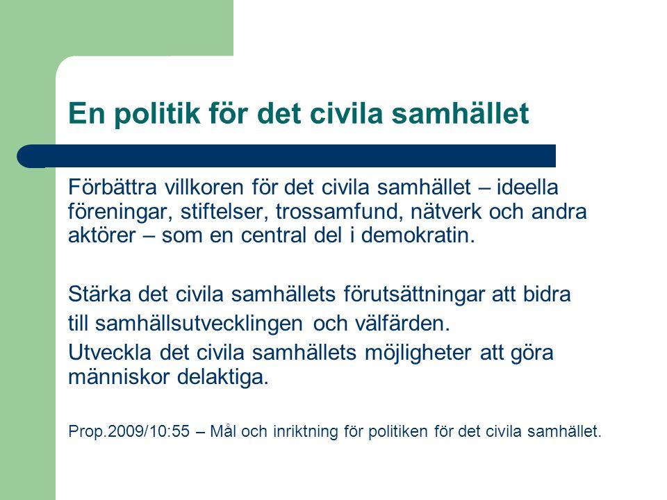 Förbättra villkoren för det civila samhället – ideella föreningar, stiftelser, trossamfund, nätverk och andra aktörer – som en central del i demokratin.