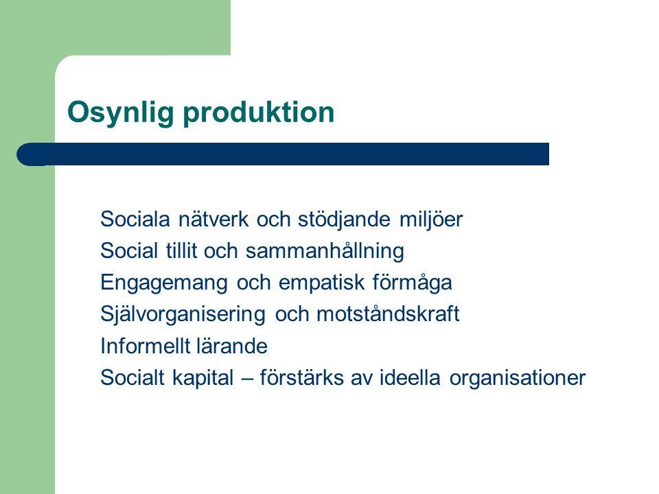 Sociala nätverk och stödjande miljöer Social tillit och sammanhållning Engagemang och empatisk förmåga Självorganisering och motståndskraft Informellt lärande Socialt kapital – förstärks av ideella organisationer Osynlig produktion
