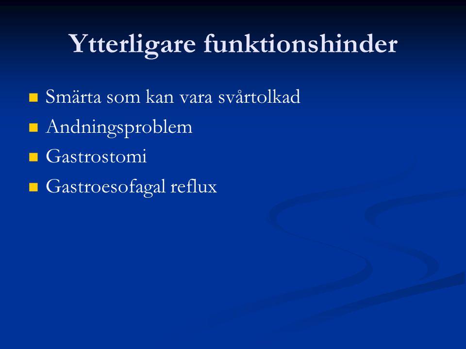 Ytterligare funktionshinder Smärta som kan vara svårtolkad Andningsproblem Gastrostomi Gastroesofagal reflux