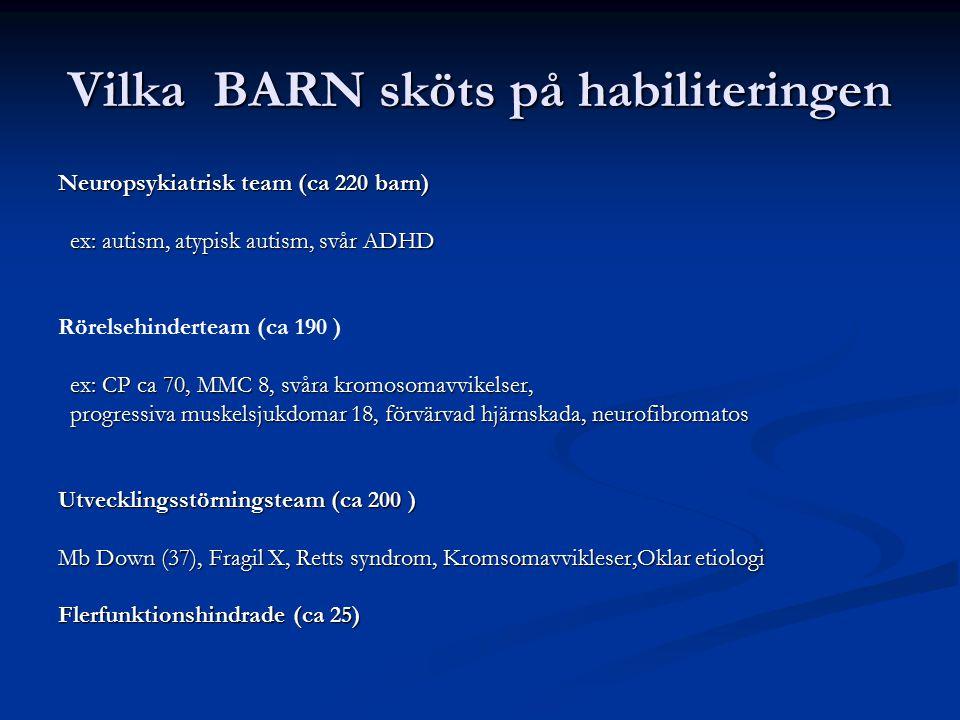 Vilka BARN sköts på habiliteringen Neuropsykiatrisk team (ca 220 barn) ex: autism, atypisk autism, svår ADHD ex: autism, atypisk autism, svår ADHD Rör