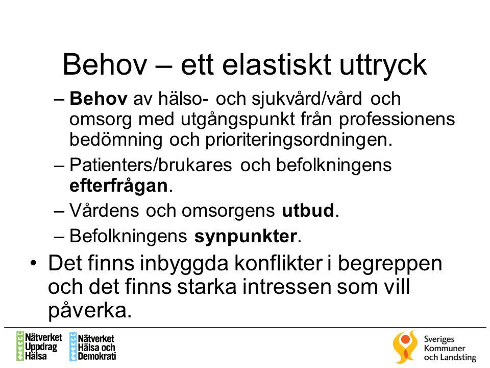 Behov – ett elastiskt uttryck –Behov av hälso- och sjukvård/vård och omsorg med utgångspunkt från professionens bedömning och prioriteringsordningen.