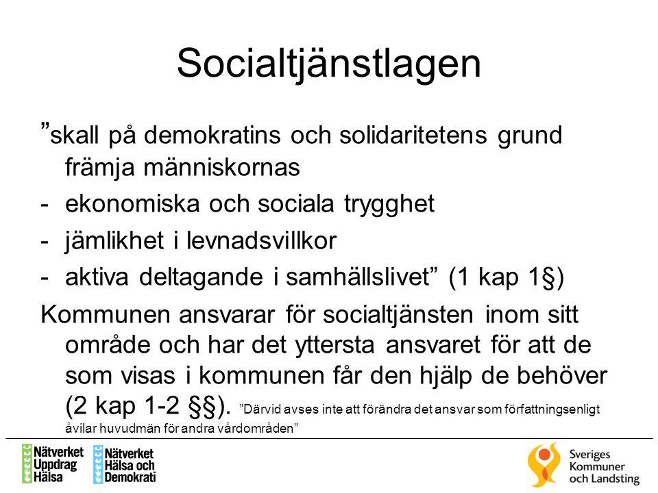 """Socialtjänstlagen """" skall på demokratins och solidaritetens grund främja människornas -ekonomiska och sociala trygghet -jämlikhet i levnadsvillkor -ak"""