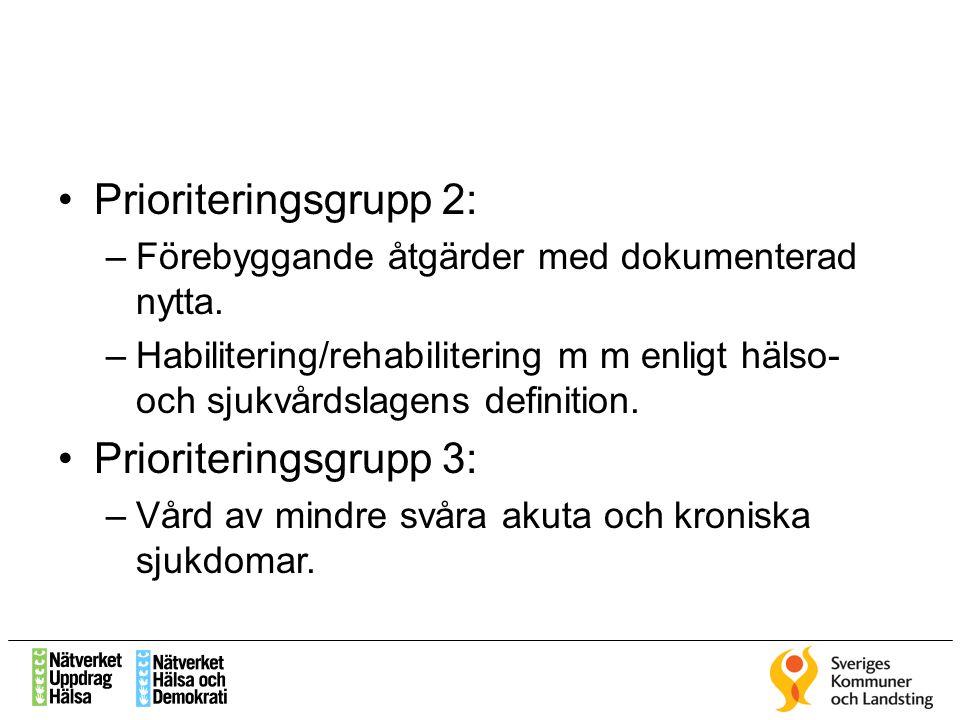Prioriteringsgrupp 2: –Förebyggande åtgärder med dokumenterad nytta. –Habilitering/rehabilitering m m enligt hälso- och sjukvårdslagens definition. Pr
