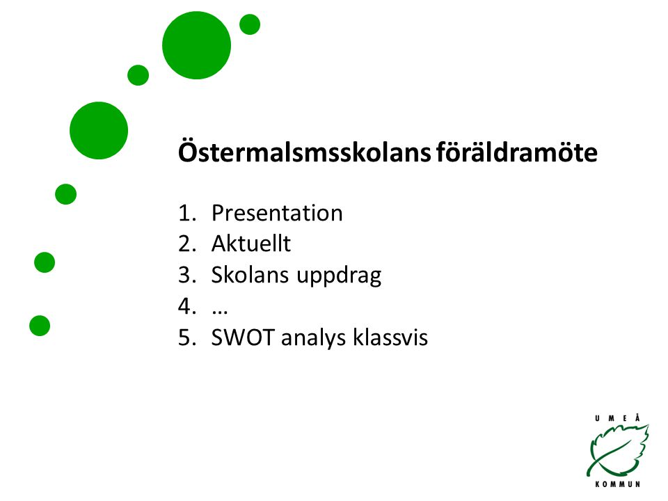 Östermalsmsskolans föräldramöte 1.Presentation 2.Aktuellt 3.Skolans uppdrag 4.… 5.SWOT analys klassvis