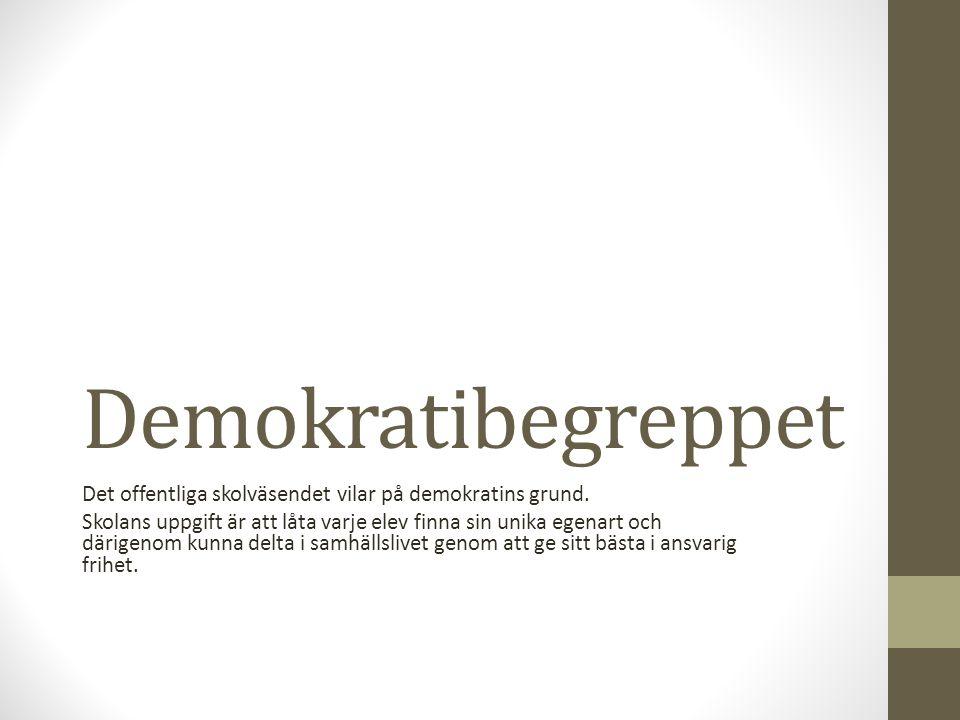 Demokratibegreppet Det offentliga skolväsendet vilar på demokratins grund. Skolans uppgift är att låta varje elev finna sin unika egenart och därigeno