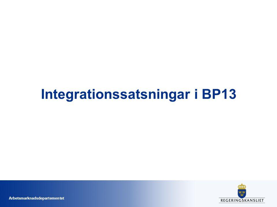 Arbetsmarknadsdepartementet Integrationssatsningar i BP13
